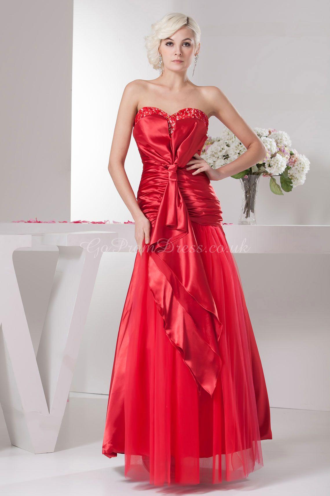 4bacc2bfe74163 A-line Elastic Silk Like Satin Tulle Sweetheart Natural Waist Floor-Length  Zipper Sleeveless Beading Bowknot Ruching prom dress