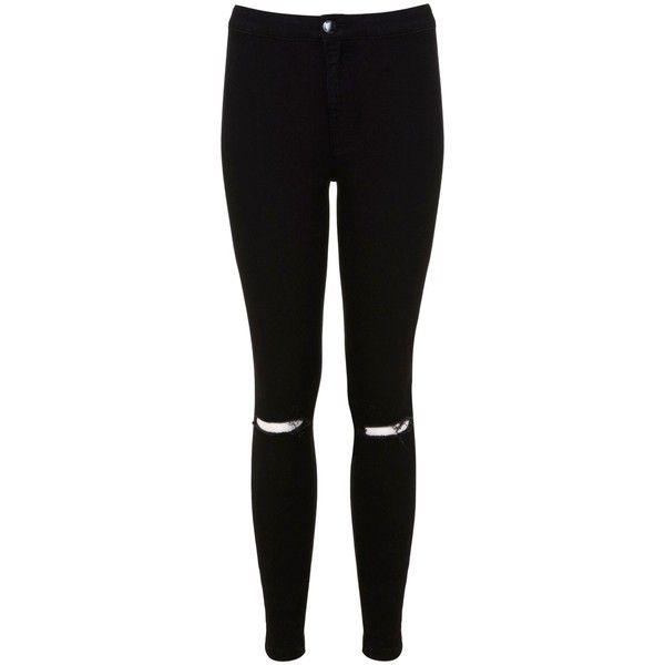 Miss Selfridge Petites Ripped Knee Jean (€49) ❤ liked on Polyvore featuring jeans, pants, bottoms, pantalon, pantaloni, black, petite, women, high waisted black skinny jeans and ripped skinny jeans