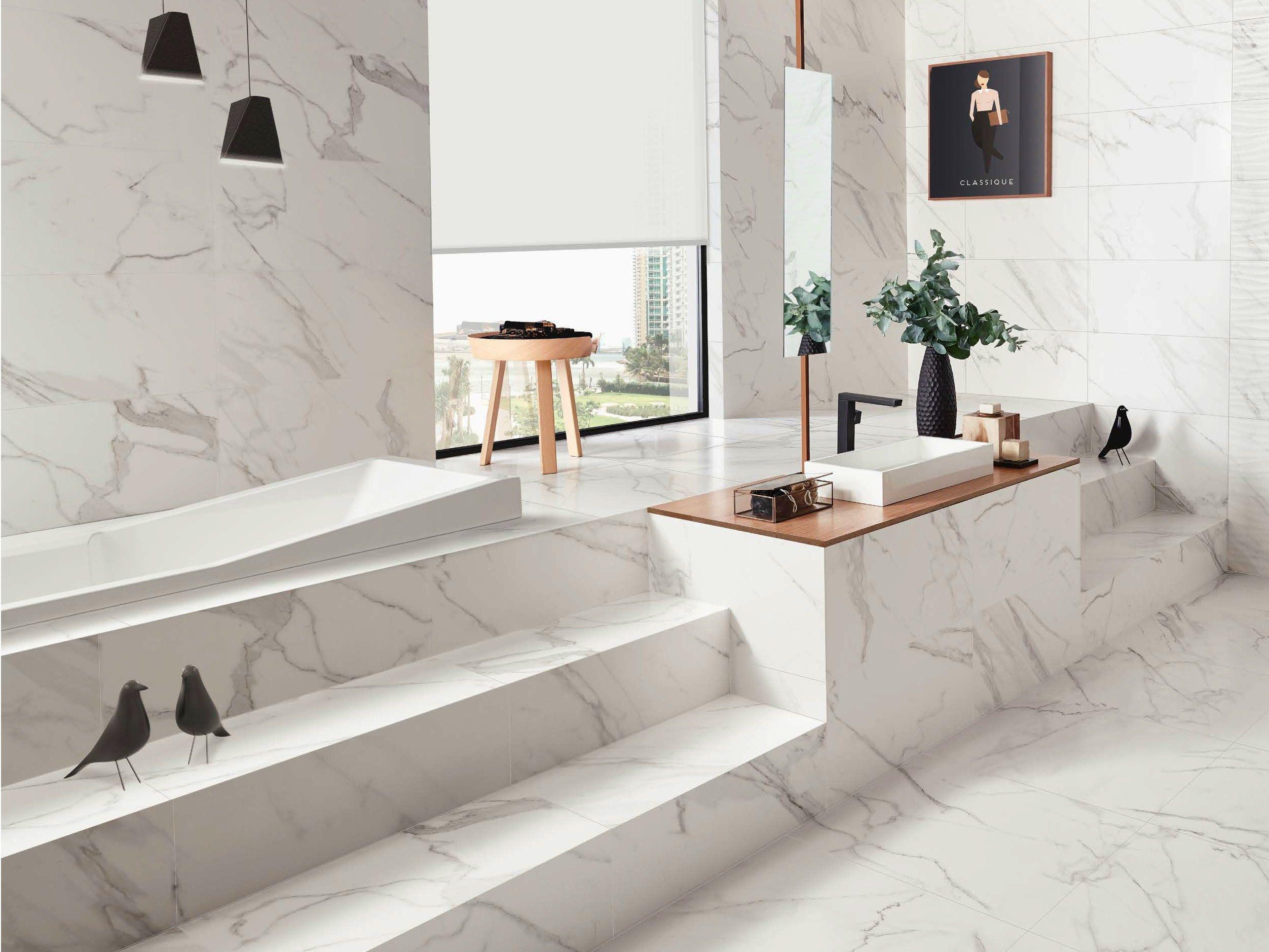 rev tement de sol en c ramique p te blanche effet marbre. Black Bedroom Furniture Sets. Home Design Ideas