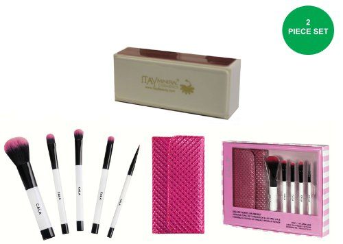 629dc03f3d61 Cala 5pc Deluxe Travel Brush Set with Pink Case Itay Mineral ...