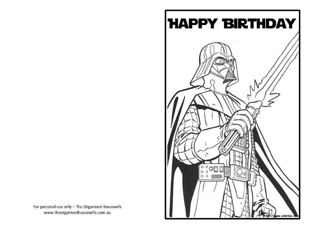 Star Wars Happy Birthday Card Coloring Pages