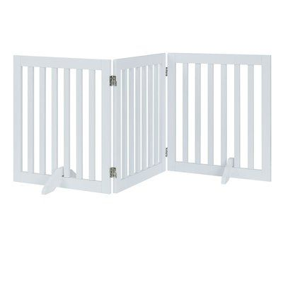 Archie Oscar Huck Free Standing Pet Gate Size 24 H X 60 W X 0 71 D Color White In 2020 Pet Gate Wooden Dog Gates Dog Barrier