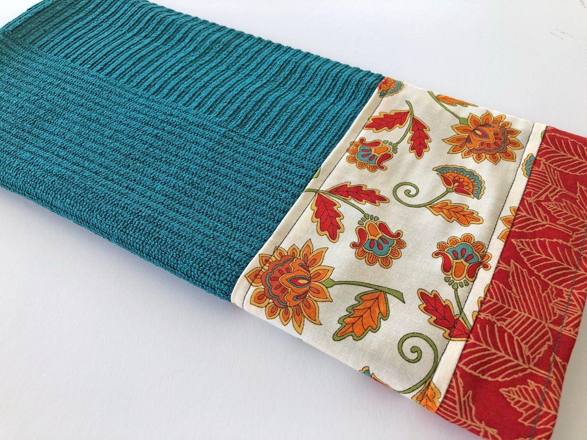 Autumn Fall Kitchen Dish Towel, Teal Kitchen Dish Towel ...