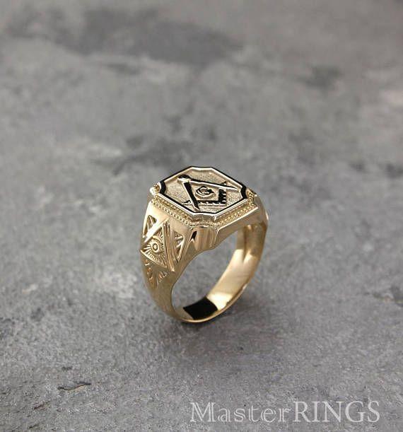 Big Masonic Signet Ring Men Masonic Ring All Seeing Eye Signet
