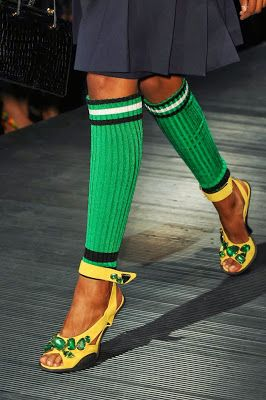 Muna's Coolture: Muna's Fashion Week Edition - MFW SS14 - Prada's soccer leg warmer.  Hot or Not??