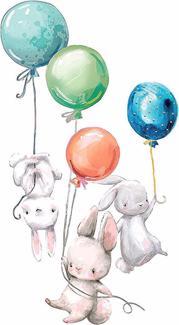 Fototapete Kinderzimmer Aquarell Tiere Kaninchen Babys mit