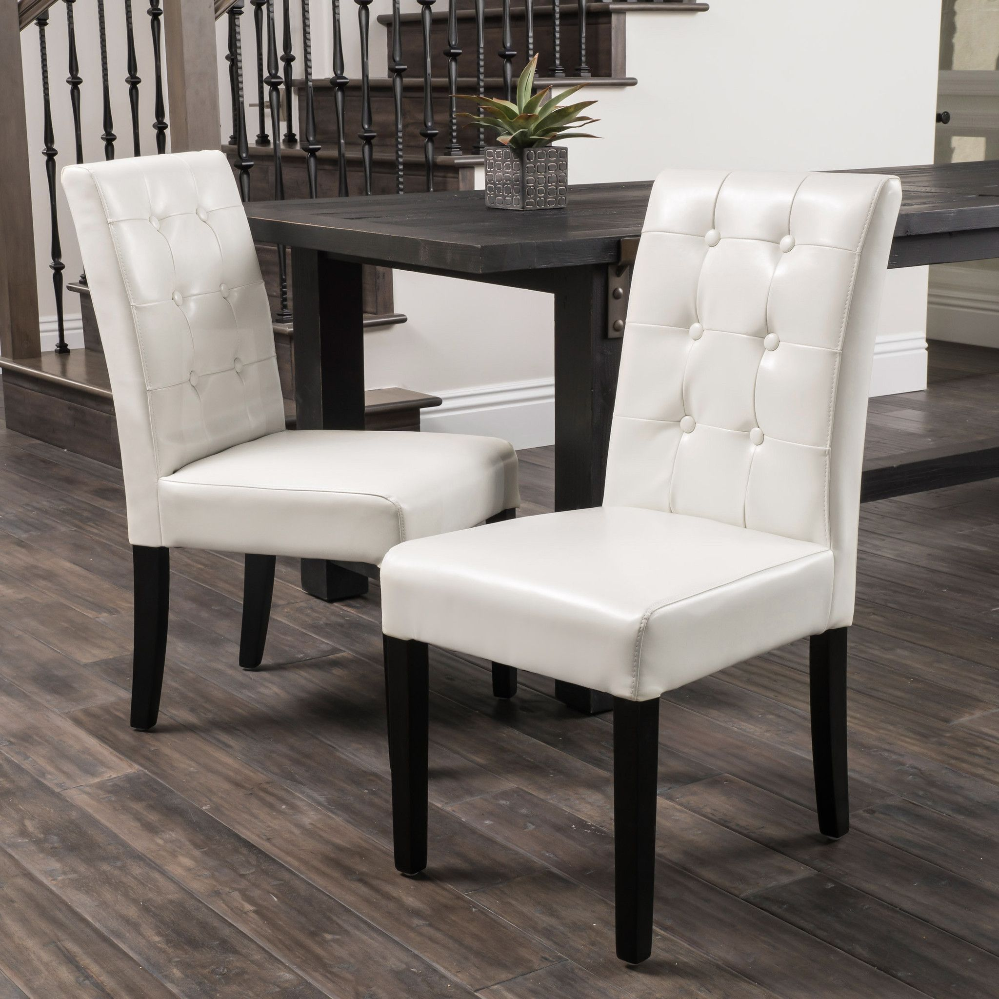 Ivory Dining Room Chairs Captivating Gillian Ivory Leather Dining Chairs Set Of 2  Dining Chair Set Inspiration
