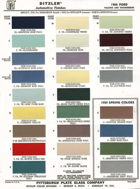 Color Palette From Ford 1960 Exterior Color Palette Exterior