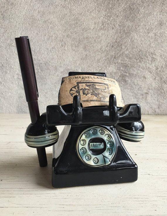 Vintage Telephone Business Card Holder With Call Me Message Vintage Pen Holder Desktop Accessory Vintage Home Office Old Style Telephone Vintage Telephone Vintage Home Office Vintage Pens