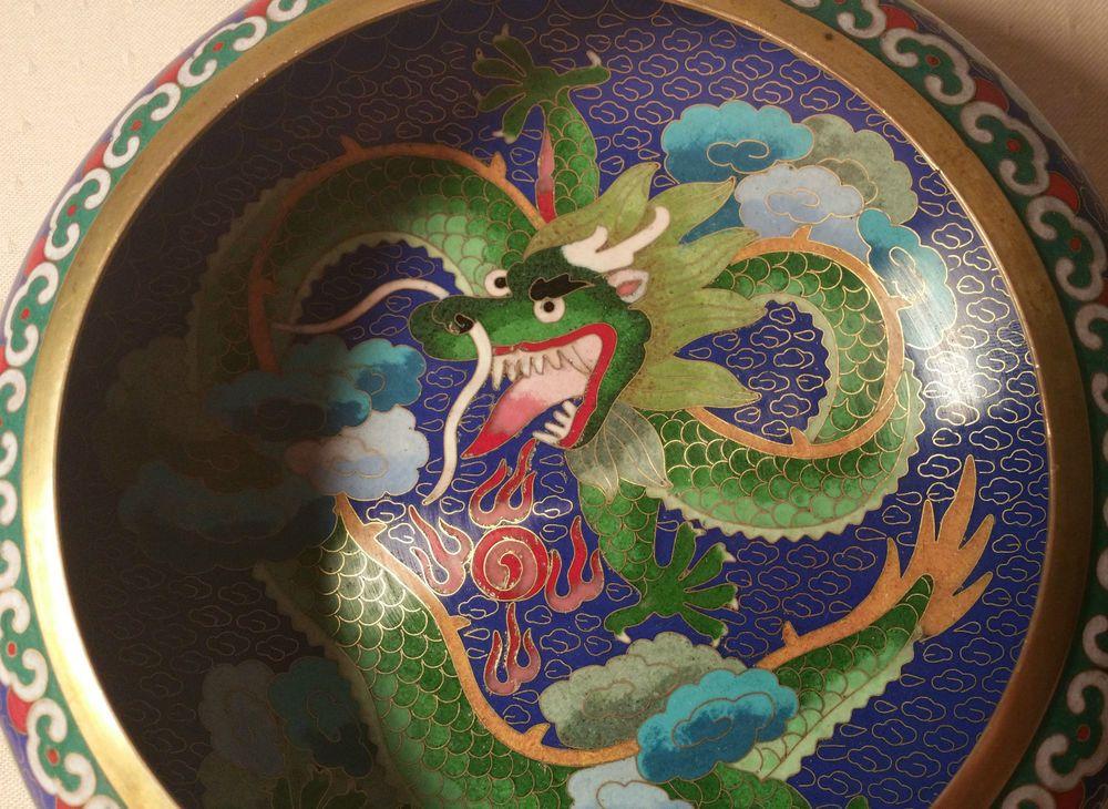 7 Blue Dragon Cloisonne Enamel Fish Bowl Chinese Art Bronze Vase Vtg Ikebana Year Of The