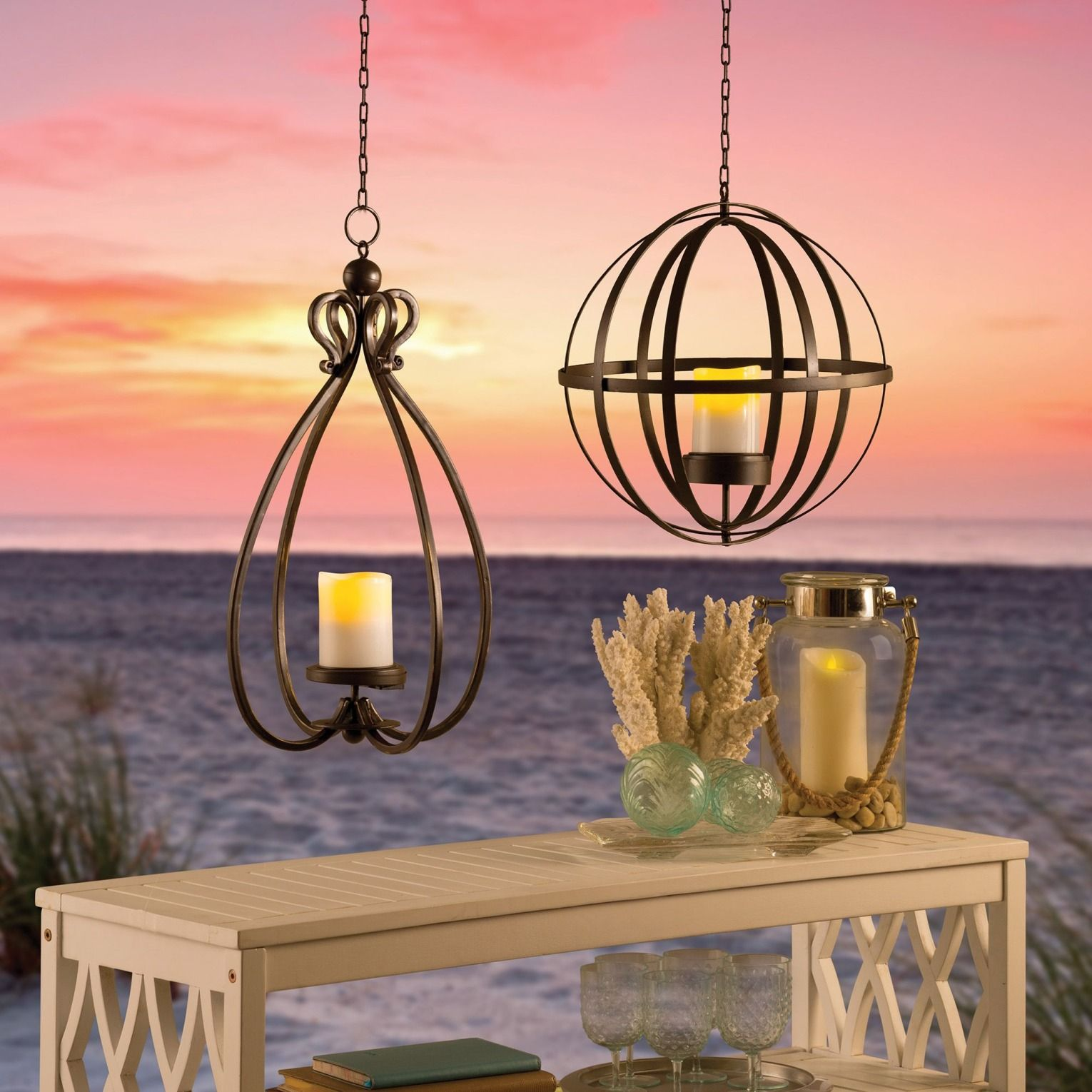 Hanging outdoor candle lanterns for patio - A Gorgeous Outdoor Lighting Option These Solar Candle Lanterns Come In 2 Shapes Round