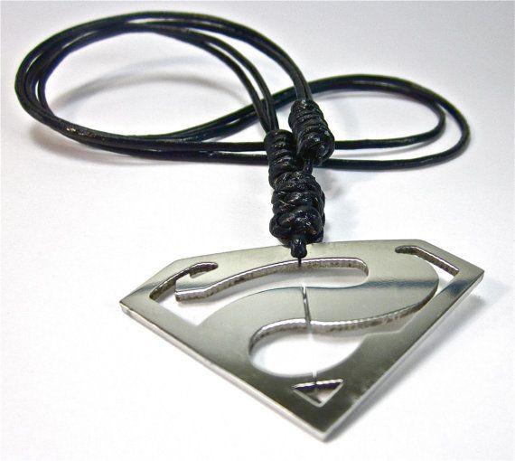 Leather Surfer Necklace Superman Symbol Pendant By Geralingioielli