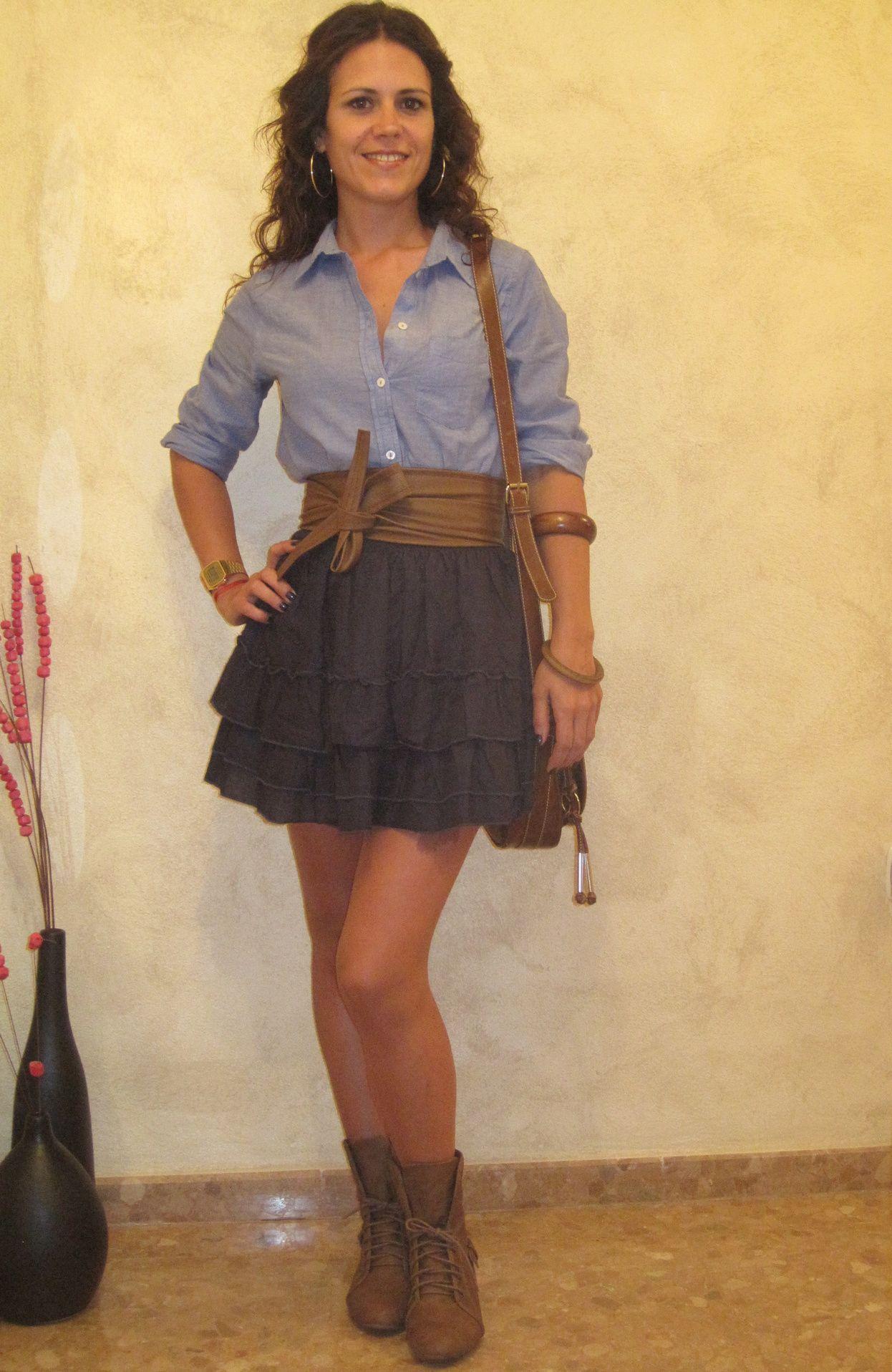 Falda De In Shirt Vaquera H Camisa Volantes amp;m Blouses AzxWnpPAr1