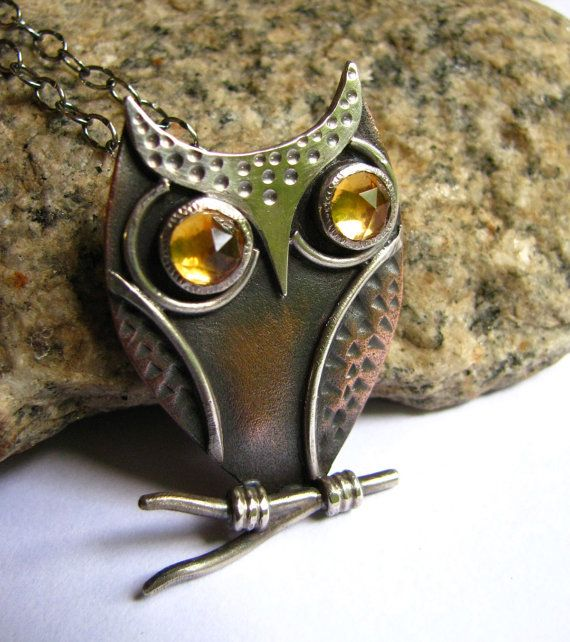 Mixed Metal Owl Pendant Necklace - Copper, Sterling Silver And Faceted Citrine Owl Necklace - Artisan Metalsmith GemstoneJewelry