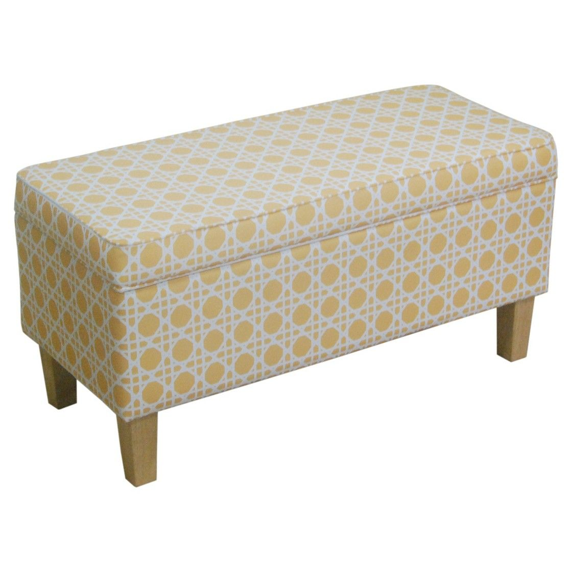 Awe Inspiring Threshold Upholstered Storage Bench Yellow Cane Print Gmtry Best Dining Table And Chair Ideas Images Gmtryco