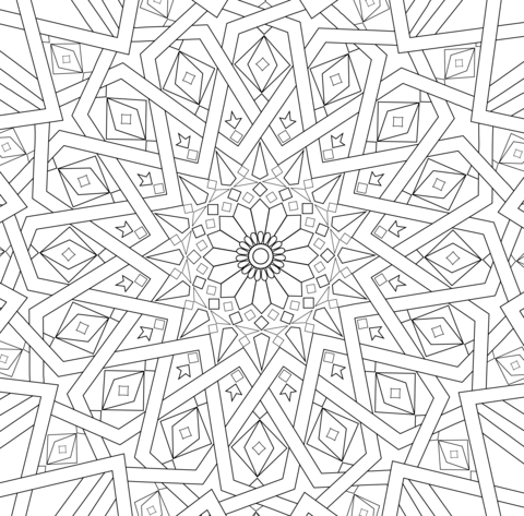 Coloriage mosa que islamique traditionnelle cat gories - Dessin mosaique a imprimer ...