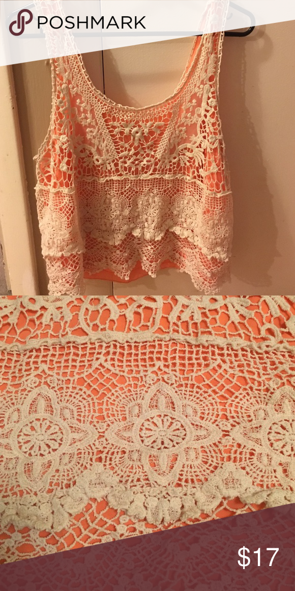 Urban Outfitters lace tank top Orange and cream lace tank Staring at Stars Tops Tank Tops