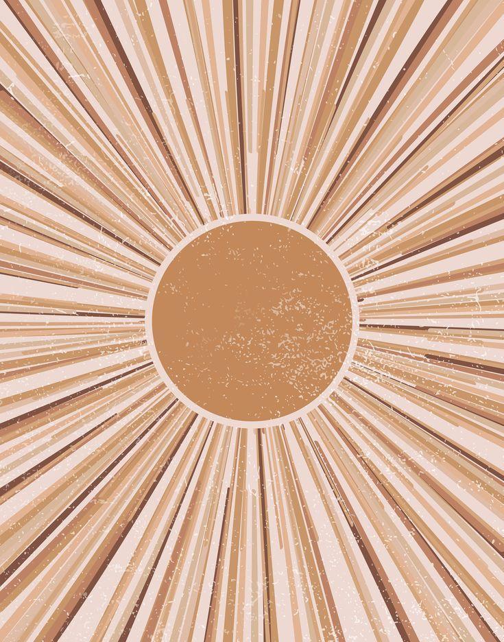 Large Sun Art Print, Abstract Sun Wall Art, Sun Rays Circle Print, Sun Rise Art, Boho Sun Wall Art,