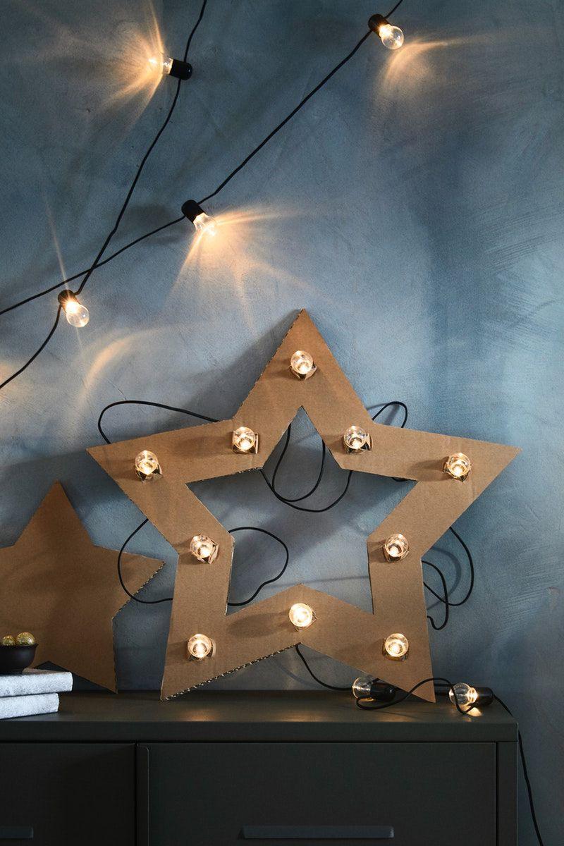 Winterliche Deko, DIY Stern aus Pappe und BLÖTSNÖ Lichterkette