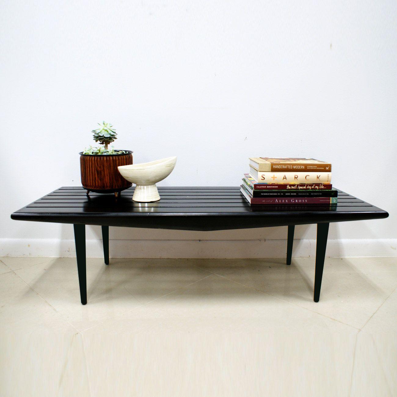 Sale Vintage Mid Century Modern Black Slat Bench Coffee Table Etsy Coffee Table Mid Century Modern Decor Patio Lounge Chairs [ 1300 x 1300 Pixel ]