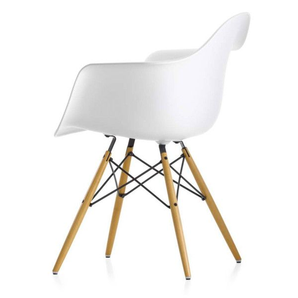 Eiffel Chair White Plastic Arm With Wood Legs