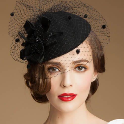 d2329a1dc2142 Women Black Wool Netting Winter Fashion Dress Veil Beret Hat Berets  SKU-158411