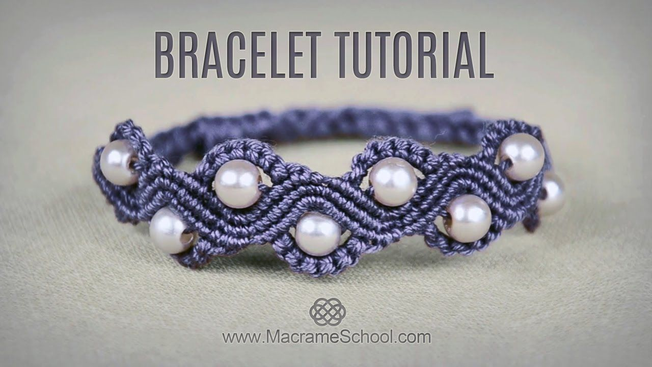 diy macram wave bracelet with beads tutorial colliers et bracelets. Black Bedroom Furniture Sets. Home Design Ideas