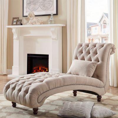 Verona Home Nottingham Grand Chaise Lounge In Beige