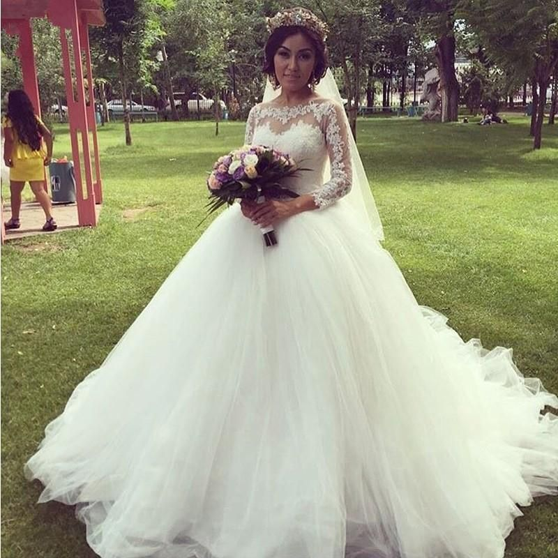 2016 New Romantic Pricess Ball Gown Lace Wedding Dresses With Long ...