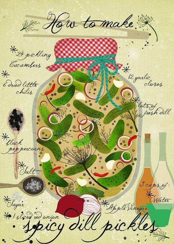 to make Spicy Pickles - Art Print - illustrated Recipe Wie man würzige Gurken  Art Print  illustrierte RezeptWie man würzige Gurken  Art Print  illustrierte Rezept