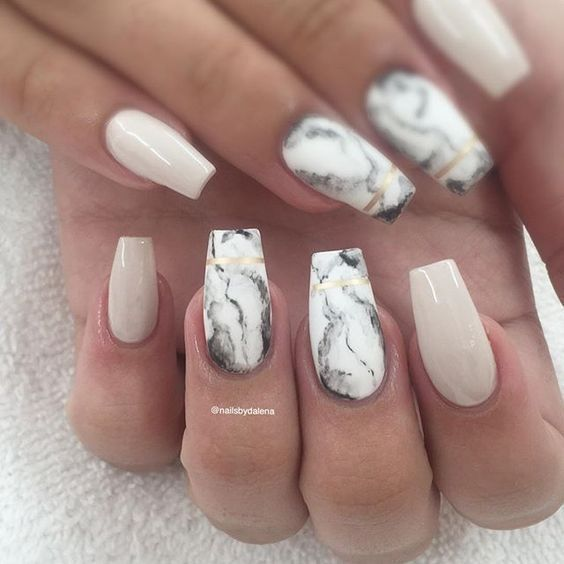 Marble and Nude Square Nails | 50+ Marble Ideas You\'ll Fall In Love ...