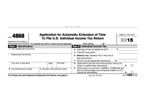 Irs Form  Extension For  Tax Deadline