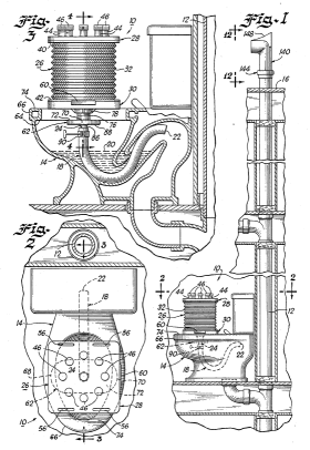 Cross-section diagram of a complicated toilet snorkel with