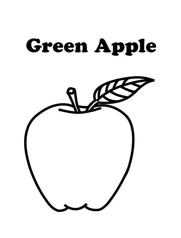 Green Apple Coloring Page Apple Coloring Pages Apple Coloring Coloring Pages