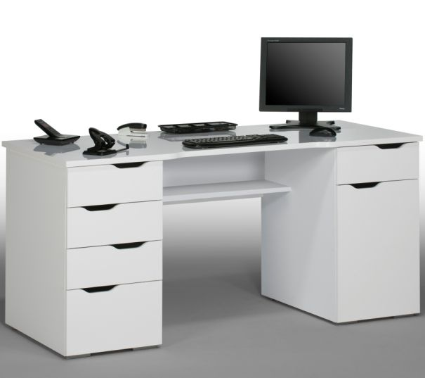 Mason Computer Work Station In White Wood And High Gloss 20177 Desks A Wide Range Of Styles At Furniture Fashion
