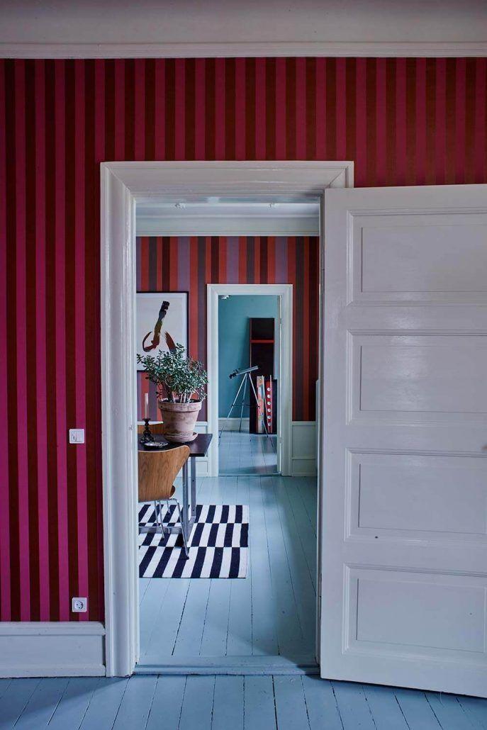 Gut Tapete Rottöne Rot Rosa Pink Streifen Skandinavisch Modern Farbenfroh  Einrichten Wohnen Interior Design Wohnblog Grau Weiß Nordisch Schlicht  Gestreift ...