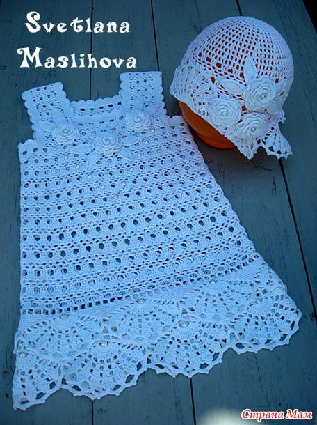 Pure white dress for the little lady. | vestidos niña tejidos ...