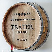 Personalized Deep Carved Quarter Barrel Head Wine Pinterest