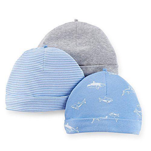 84b40a9ad70 Carter s Baby Boy 3 Pack Hats Caps ~ Sharks ~ Blue