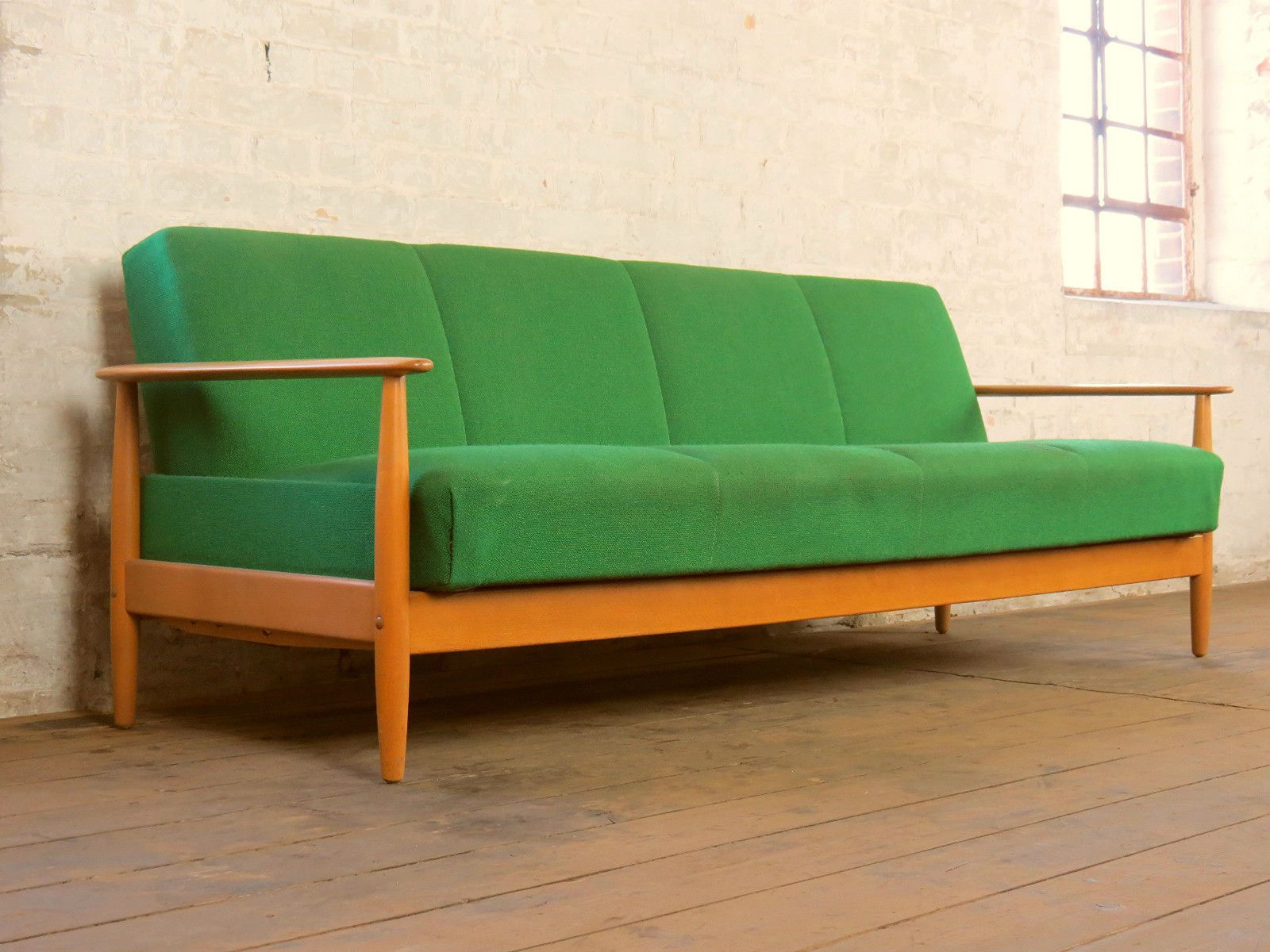 Mid Century Danish Design Retro 3 Seater Club Sofa Daybed Couch