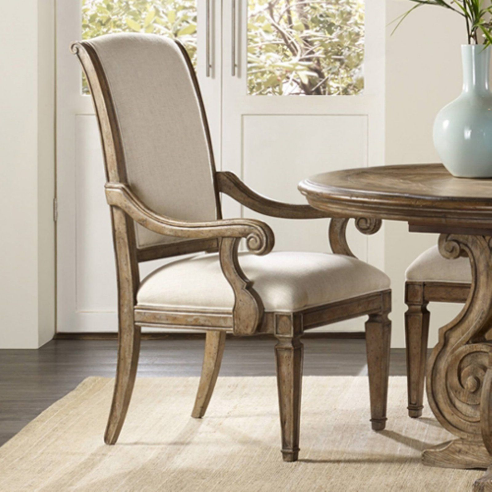 Hooker Furniture Solana Upholstered Dining Arm Chair Natural