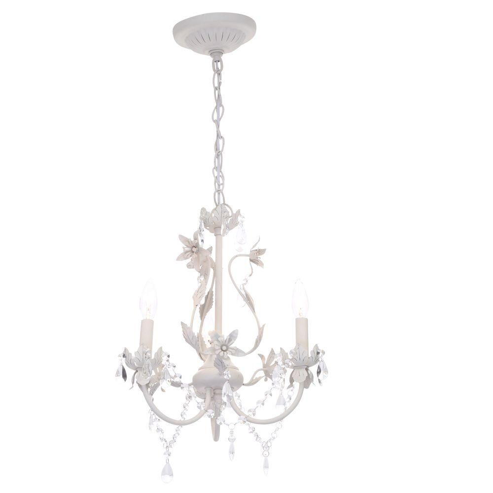 Hampton Bay Kristin 3 Light Antique White Hanging Mini Chandelier Hb3430 44 Mini Chandelier Small Chandelier White Chandelier