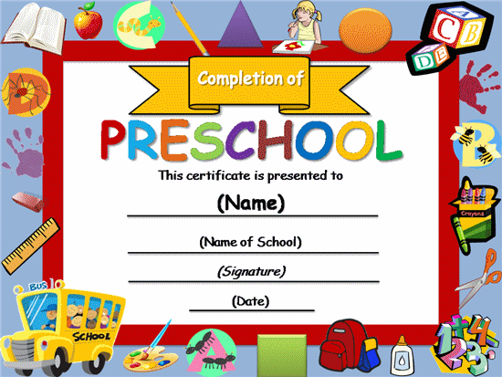 Free certificate templates templates certificates preschool free certificate templates templates certificates preschool completion certificate academic award yelopaper Images