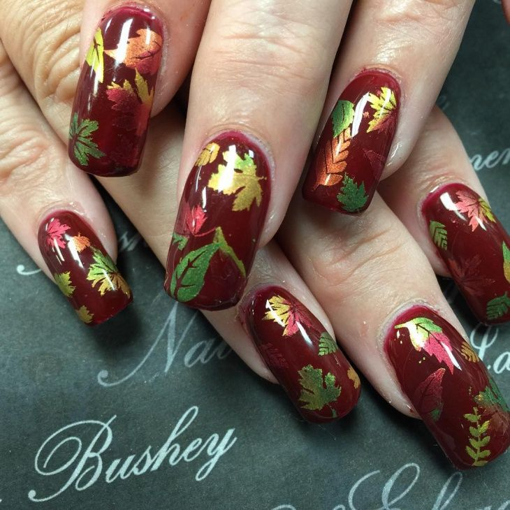 hump-with-colorful-leaves-nails | Nails | Pinterest | Autumn nails ...