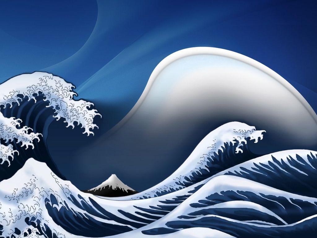 Digital Recreation Japanese Waves Waves Wallpaper Great Wave