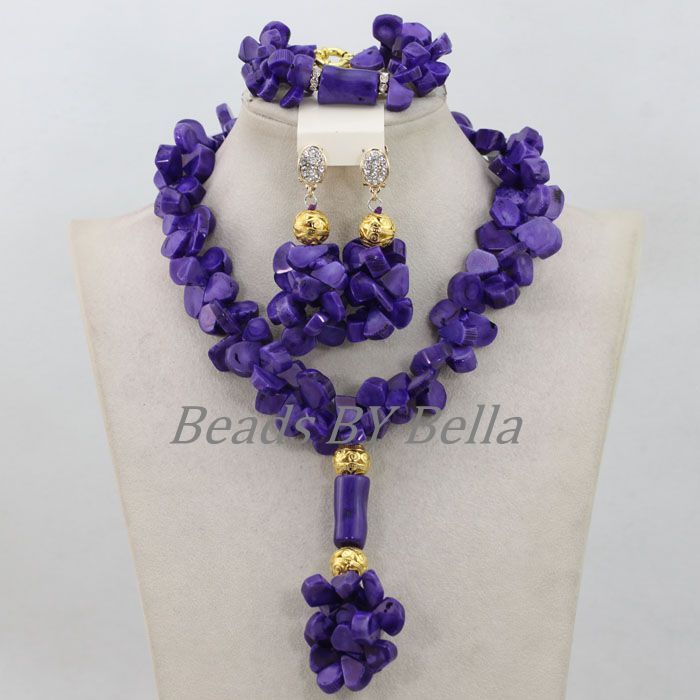 African Beads Jewelry Set Coral Bridal Jewelry Sets Purple ...