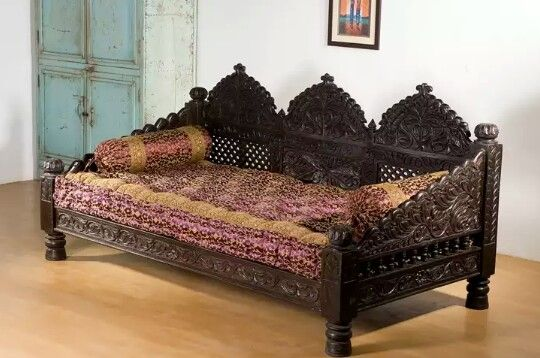 Traditional Indian Sofa Carved In The Hindu Designs From India With