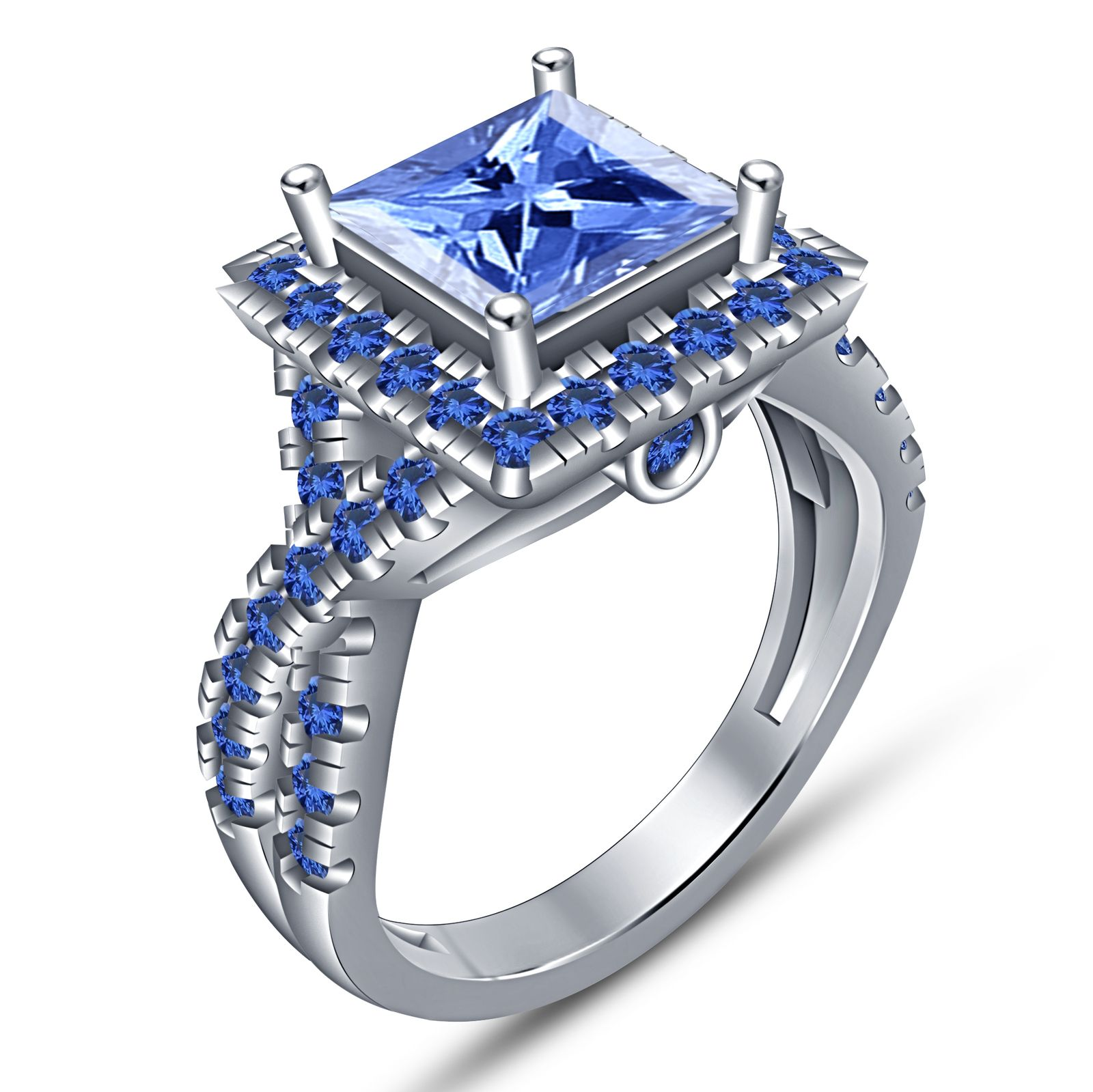 3 Ct Princess Cut blue Sapphire Diamond Bridal Engagement Ring 14K White Gold FN