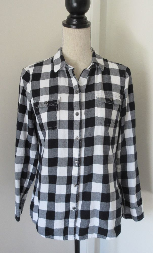 Old Navy Black White Plaid Flannel Shirt S Women Long Sleeve Button Down  FLAW #OldNavy - Old Navy Black White Plaid Flannel Shirt S Women Long Sleeve