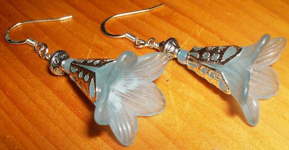 Delicate Blue Lucite Blossom Earrings by uniqueeuphoria on Etsy, $10.00